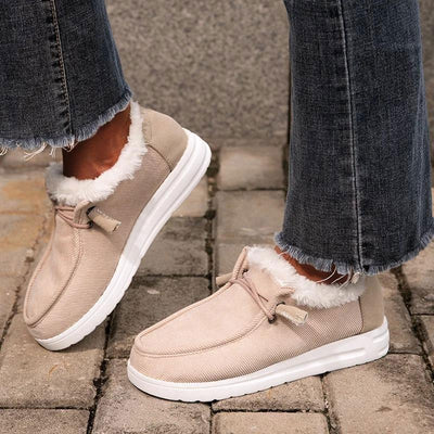 Women's Warm Lining Comfy Flat Heel Slip-on Casual Shoes