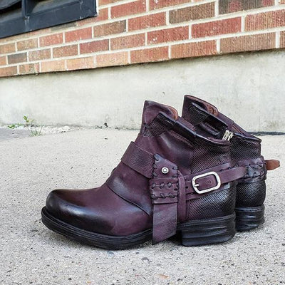 Women's Vintage Buckle Comfy Ankle Boots