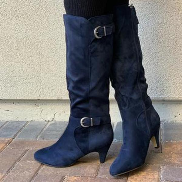 Women's Adjustable Wide Calf Kitten Heel Knee High Boots