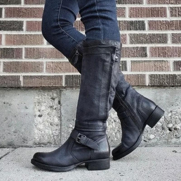 Women Winter Low Heel Leather Knight Boots