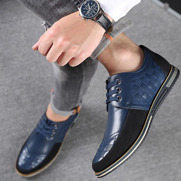 Men Microfiber Leather Splicing Non Slip Casual Shoes