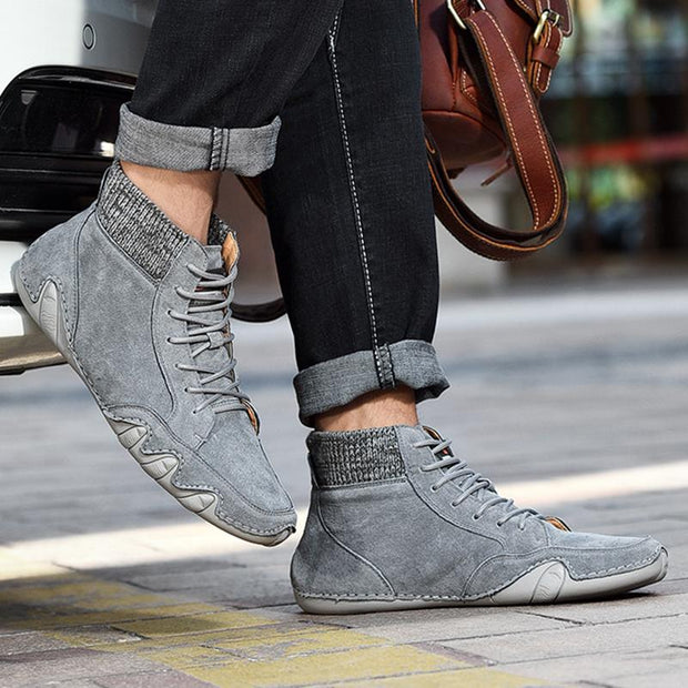 Men's Leather High-top Casual Shoes