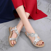 Women's Summer Bohemia Rhinestone Hollow Flats Sandals