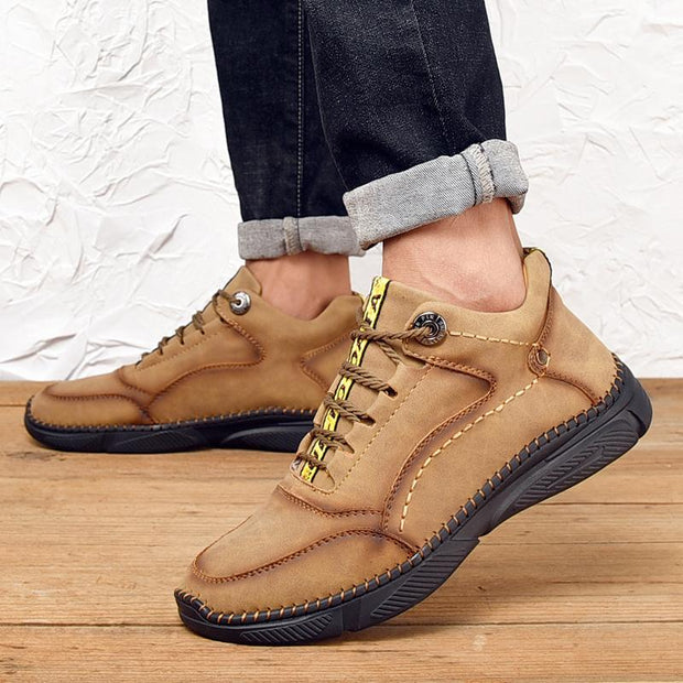 Men Vintage Handmade Microfiber Leather Ankle Boots