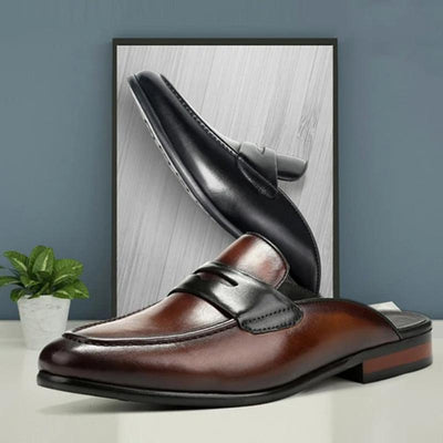 Men's Leather Half Drag British Lazy Shoes