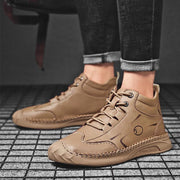 Men Leather High Top Outdoor Travel Casual Shoes