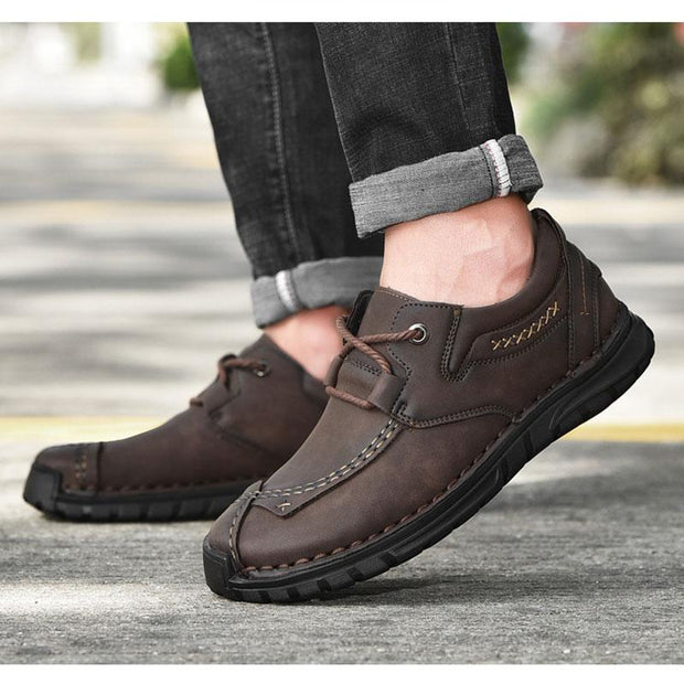 Men Genuine Leather Hand Stitching Driving Casual Shoes