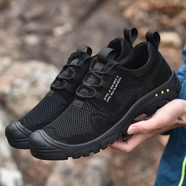 Men's Outdoor Hiking Leather Breathable Mesh Shoes