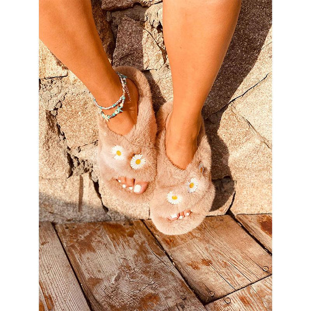 Women Daisy Plush Open-toed Slippers