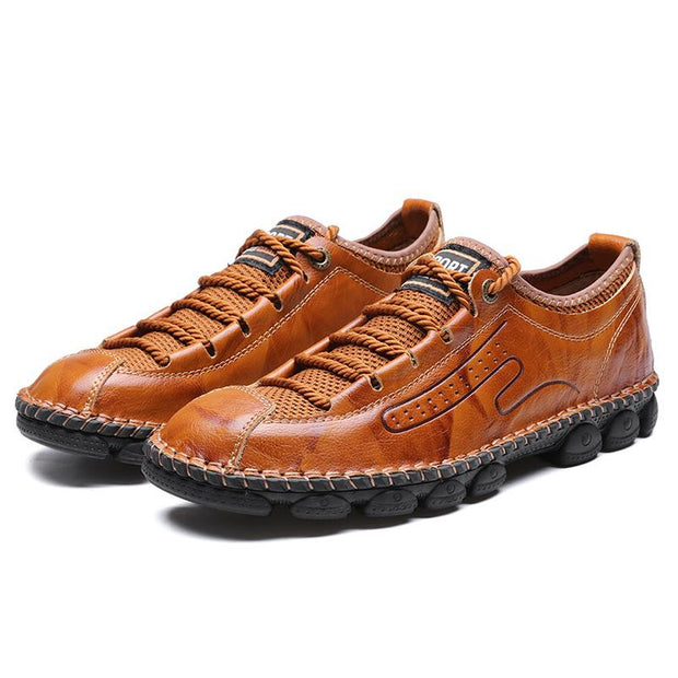 Men's Genuine Leather Handmade Retro Outdoor Lace Up Casual Shoes