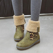 Women Plush Non Slip Round Toe Foldable Flat Ankle Short Snow Boots