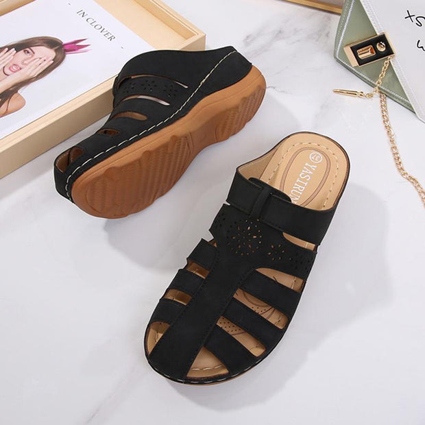 Ladies Solid Color Round Toe Heels Sandals Slippers