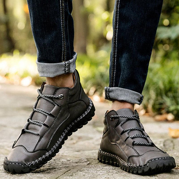 Men Casual Outdoor Lace Up Leather Shoes