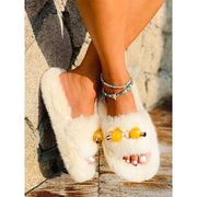 Women Plush Flats Comfortable Open-toed Slippers