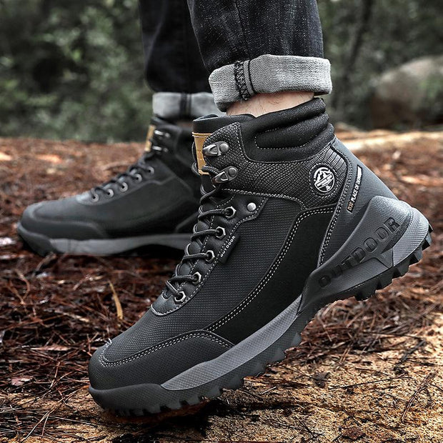Men Outdoor Non-slip Lace High Top Hiking Shoes