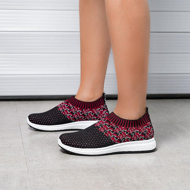 Women Outdoor Running Breathable Mesh Slip On Flat Sneakers