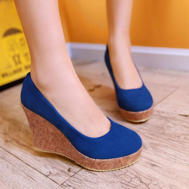 Women's Wood Grain Round Toe Wedge Nubuck Leather Wedge Shoes