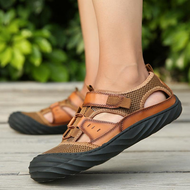 Men Sandals Genuine Leather Handmade Beach Shoes
