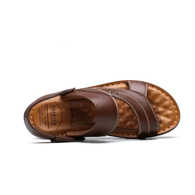 Men's Summer Genuine Leather Sandals Comfortable Slip-on Beach Shoes