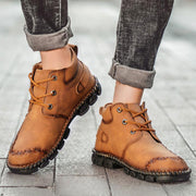Men Casual Hand Stitching Non Slip Metal Buckle Leather Boots