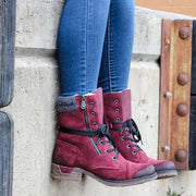 Women's Vintage Lace-up Snow Boots With Warm Lining