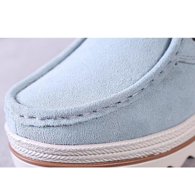 Women Genuine Leather Lace Up Slip-on Casual Shoes
