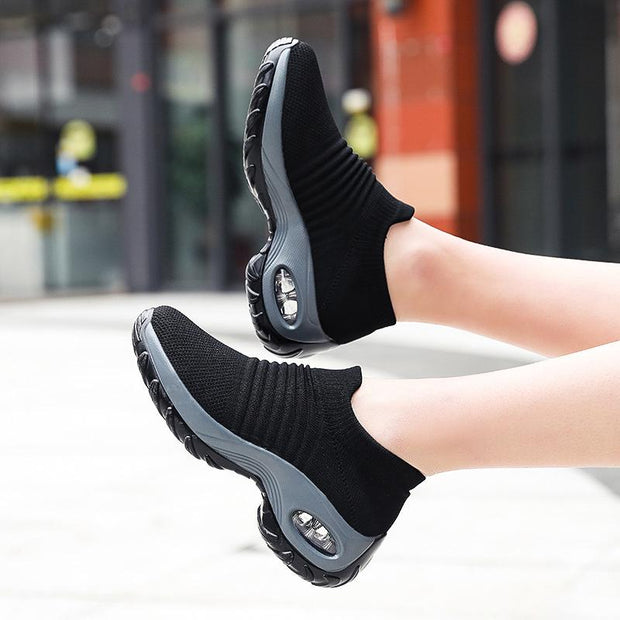 Women's Casual Air Cushion Flying Woven Sneakers