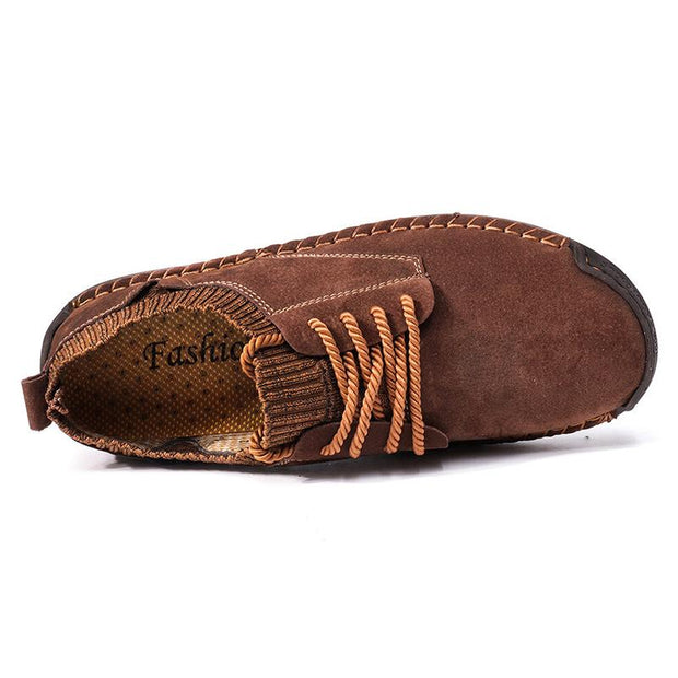 Men Suede Hand Stitching Non Slip Elastic Panel Casual Shoes