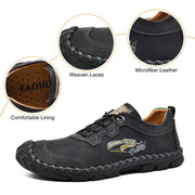 Men Genuine Leather Hand Stitching Slip Resistant Casual Shoes