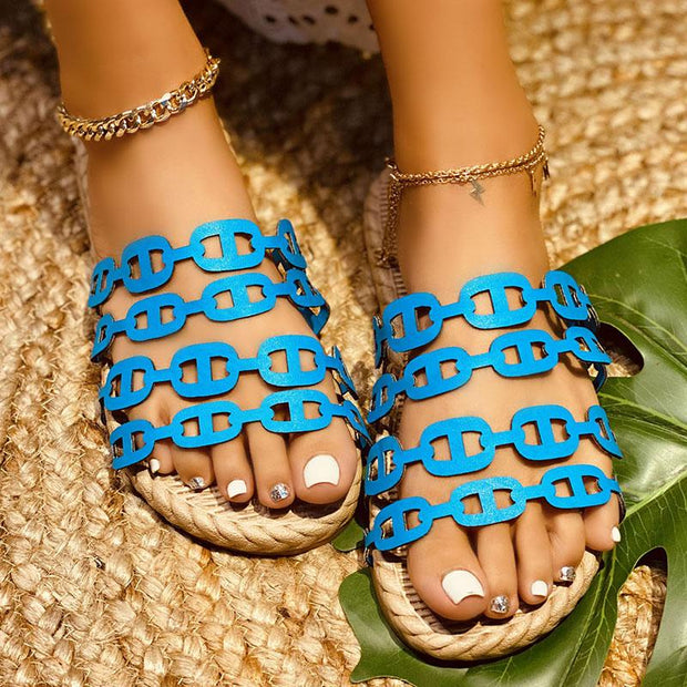 Ladies Chain-shaped Casual Slippers