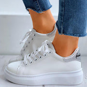 Women's Casual Glitter Letter Embroidery Lace-Up Sneakers