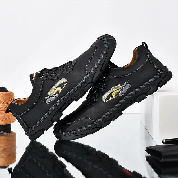 Men Outdoor Toe Protective Hand Stitching Slip Resistant Cow Leather Shoes