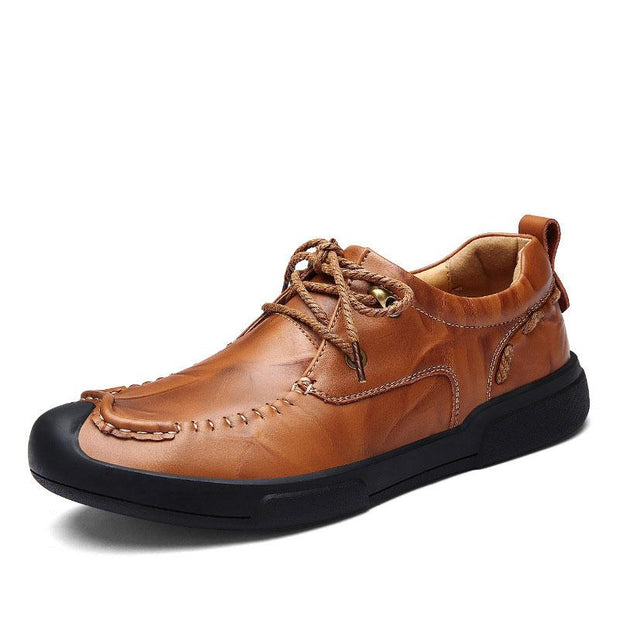 Men's Casual Breathable Solid Color Leather Shoes