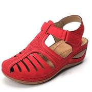 Women Casual Leather Retro Style Buckle Summer Ladies Wedges Shoes Sandals