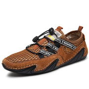 Men's' Suede Mesh Splicing Non Slip Elastic Lace Soft Casual Driving Shoes