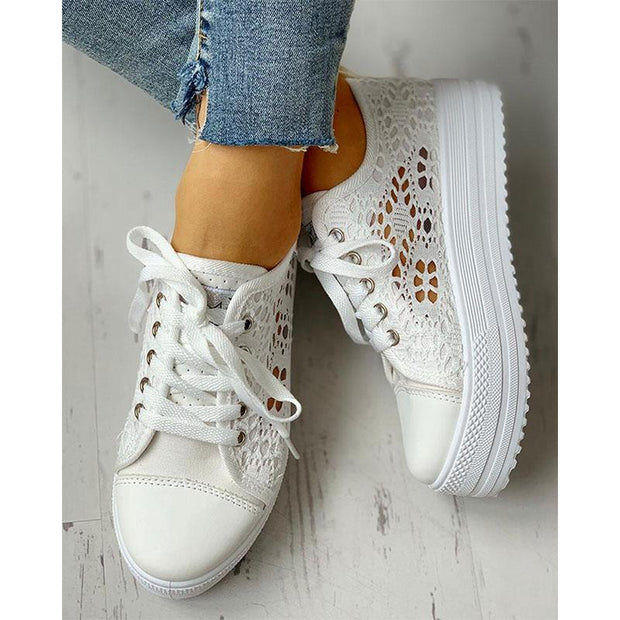 Women's Plus Size Lace Hollow Casual Shoes