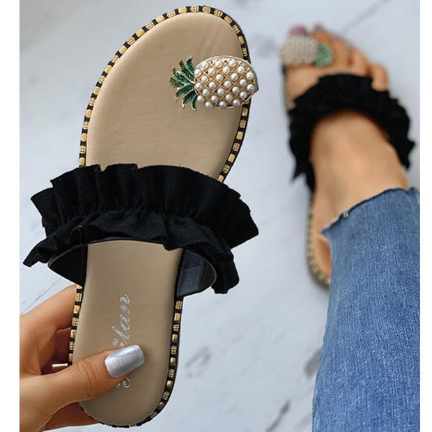 Pineapple Pattern Toe Ring Frill Hem Casual Sandals