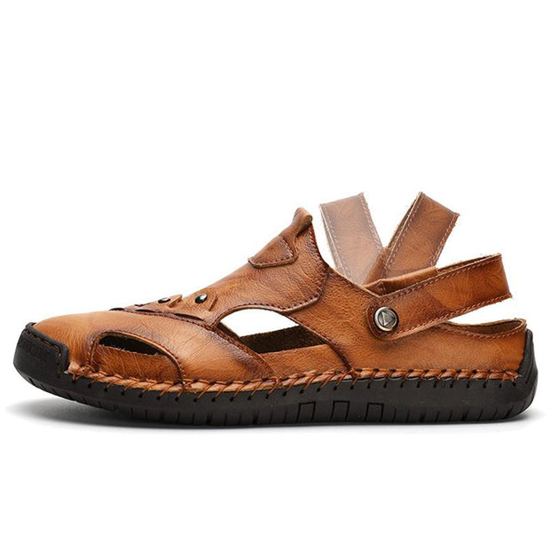 Men Summer Genuine Leather Beach Sandals Slippers