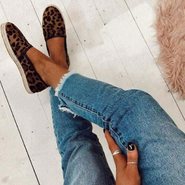 Women Shoes Suede Hemp Rope Platform Loafers