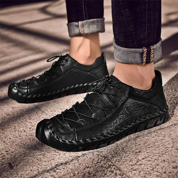 Men's Casual Loafers Breathable Moccasins Lace-up Leather Driving Shoes
