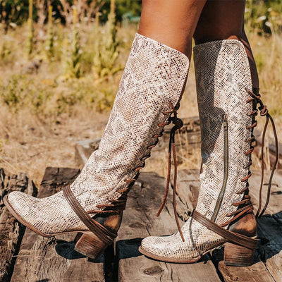 Women Lace Up Heels High Boots