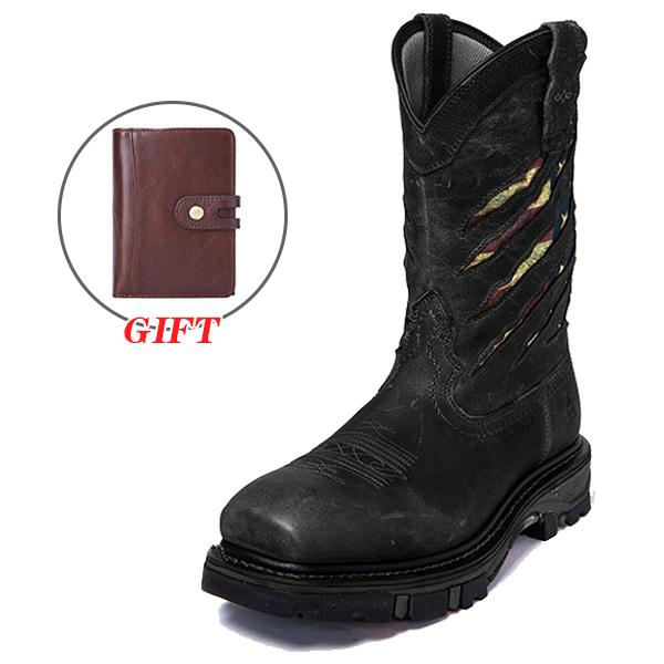 Men's Composite Toe Ripped Flag Western Work Boots(FREE GIFT-Wallet)