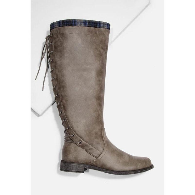 Ladies Lace-up Back Flat Boots