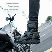 Men Genuine Leather Motorcycle Punk Boots