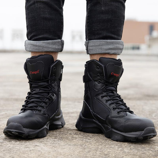 Men's New Work Safety Steel Toe Boots Anti-smashing Combat Boots