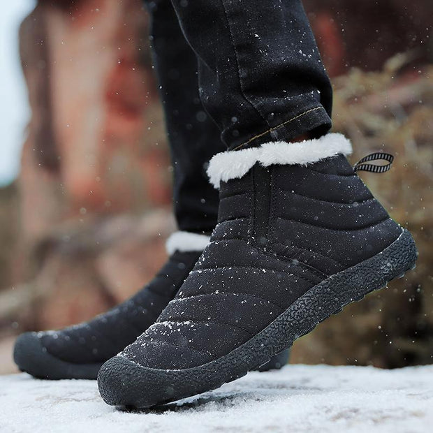 Men Cotton Winter Boots Warm Waterproof Slip-on Shoes