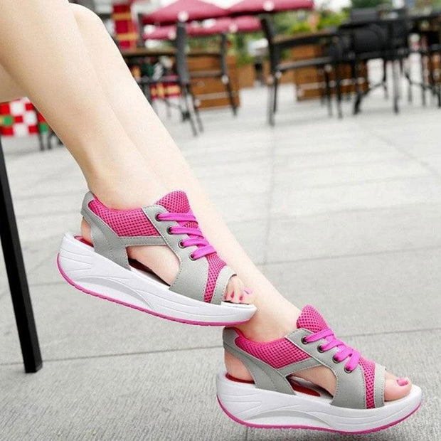 Women Peep-toe Mesh Pumps Platform Shoes Lace Up Sandals
