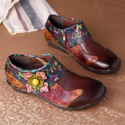 Women's Vintage Hand Painted Genuine Leather Flat Shoes