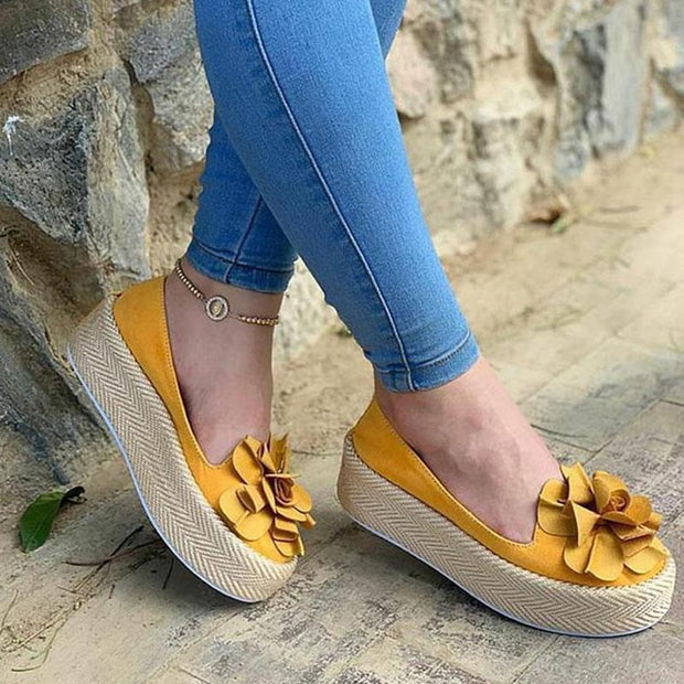 Women's Round Head Flower Woven Platform Shoes