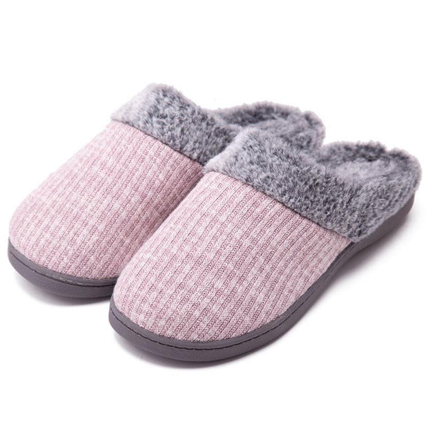 Women Winter Warm Non-slip Knitted Cotton Plush Slippers